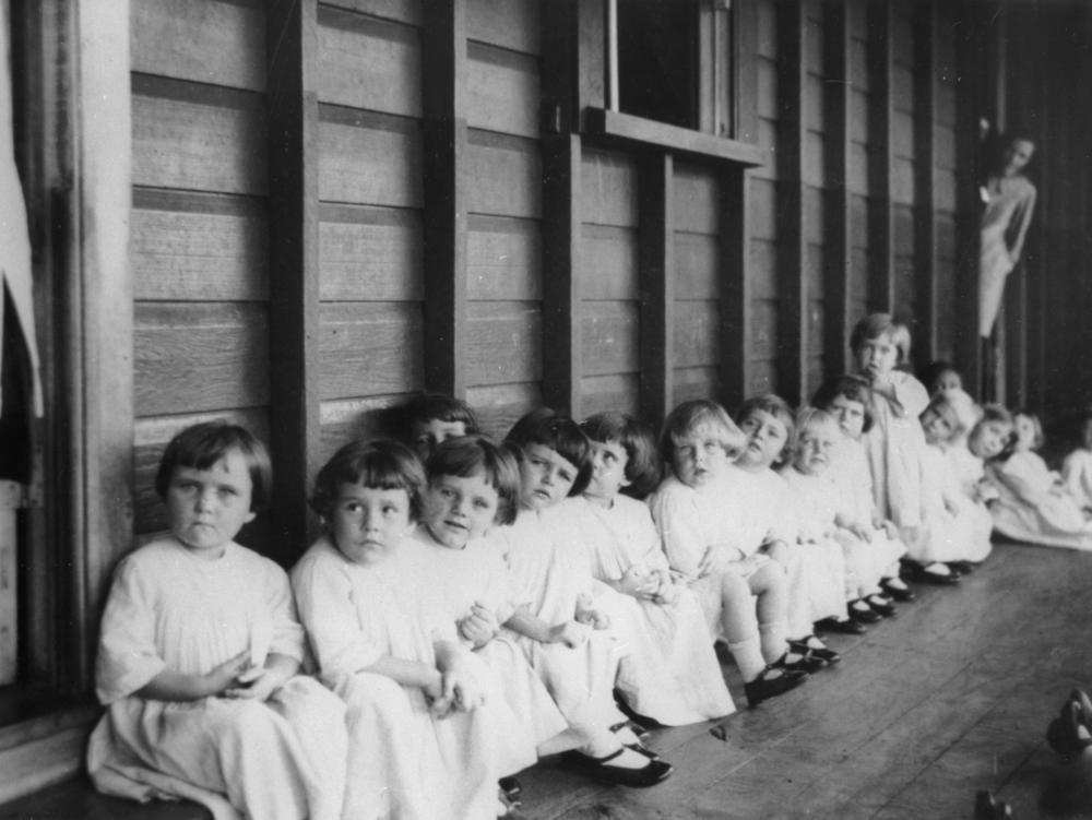 Small children waiting to be immunised at Nudgee Orphanage Brisbane ca-1. 1928