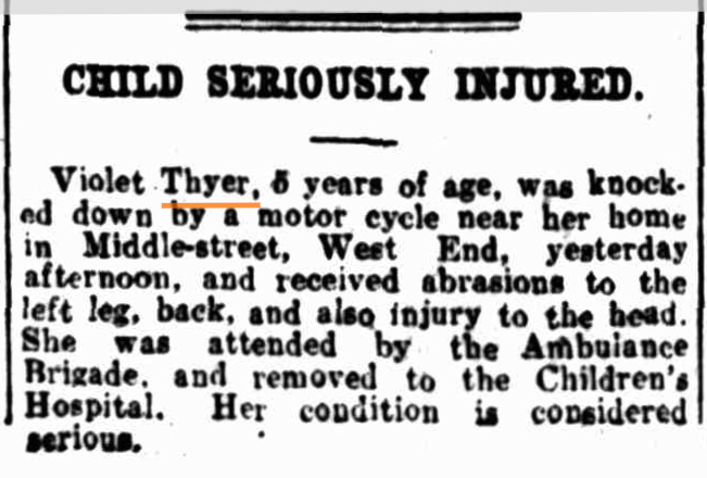 Violet thyer accident wednesday 16 may 1928